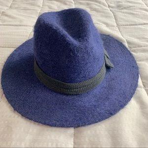 Blue Felt Wide brim Boho Fedora Hat